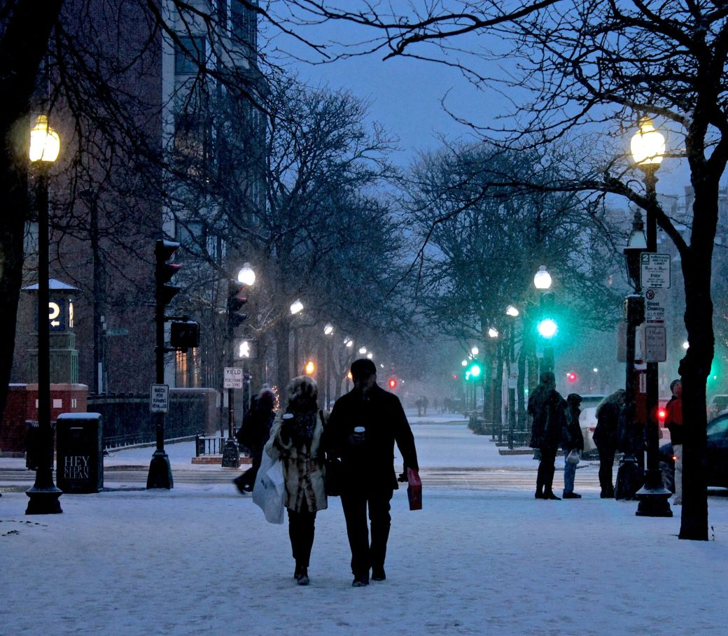 boston newbury street snow blue