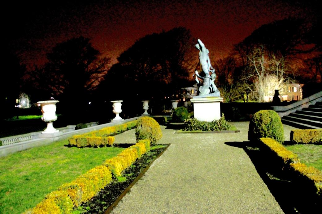 newport the elms garden night garden statue path