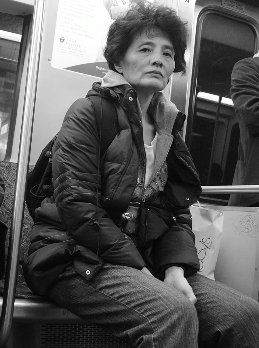 boston red line woman on the train