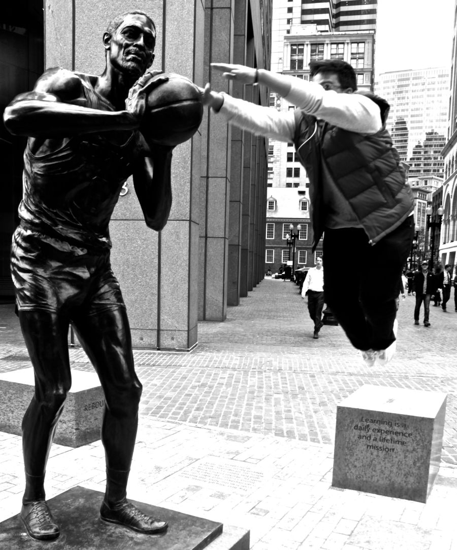 boston bill russell statue friend jumping 2