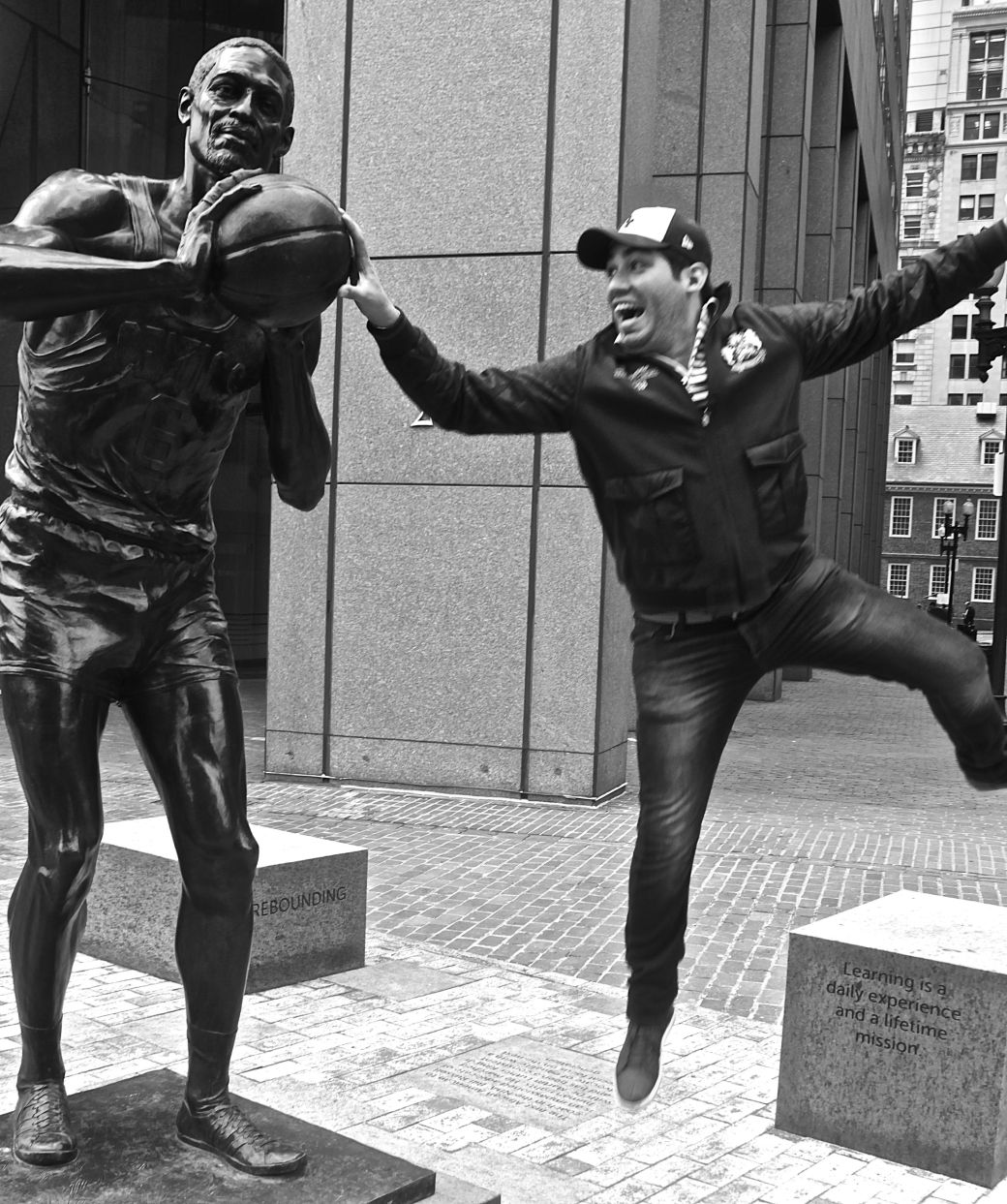boston bill russell statue friend jumping