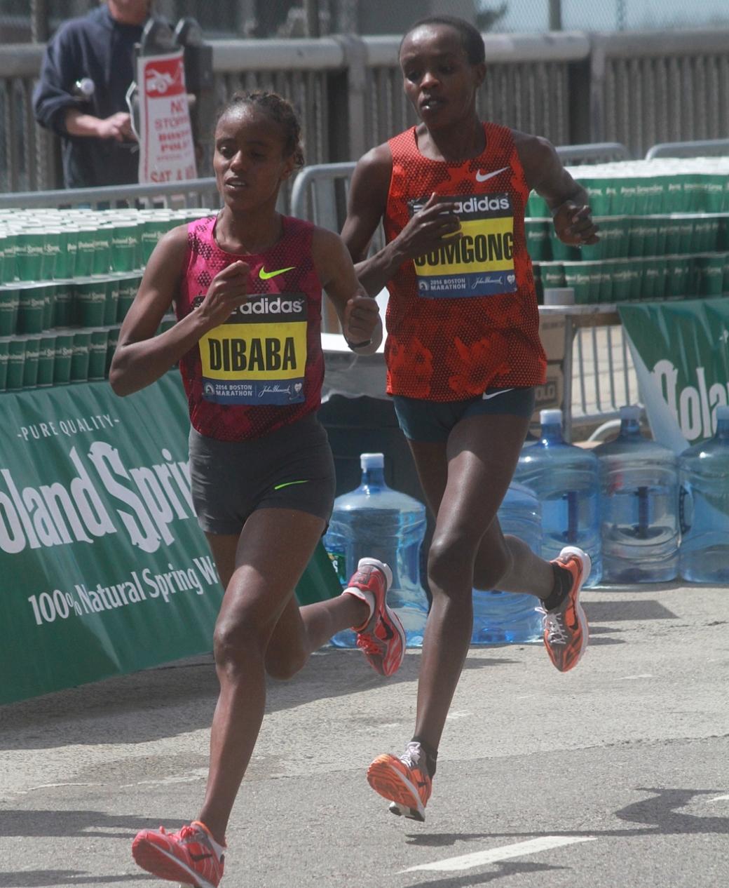boston marathon april 21 beacon street elite runners mare dibaba runner gomgong