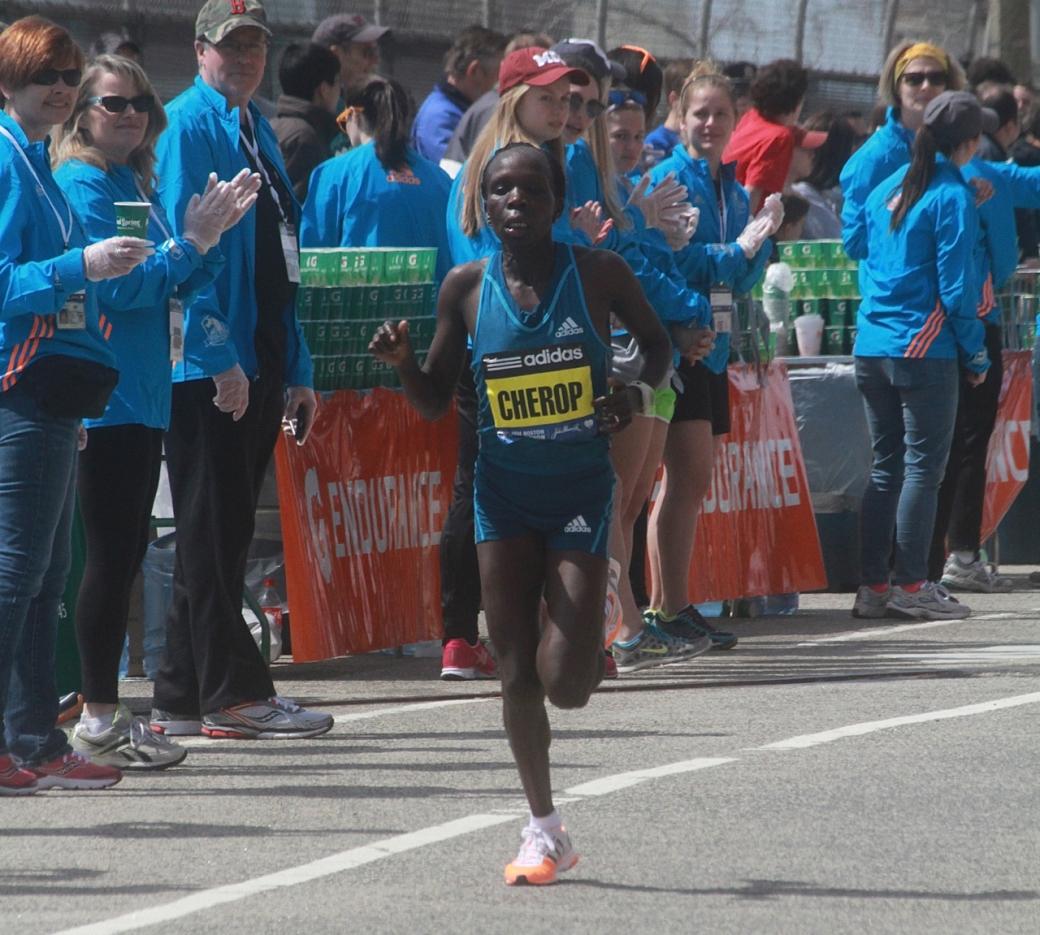 boston marathon april 21 beacon street elite runners sharon cherop