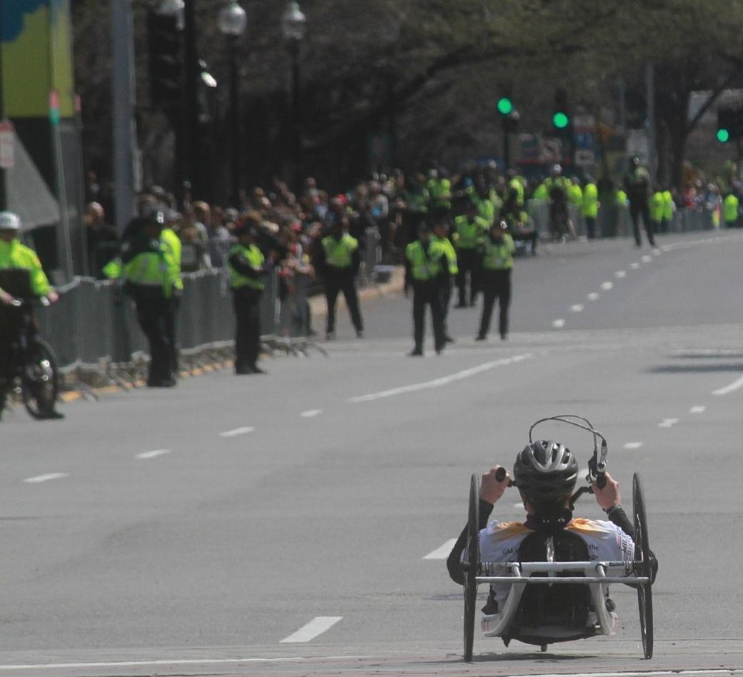 boston marathon april 21 beacon street handicapped racer kenmore square 2