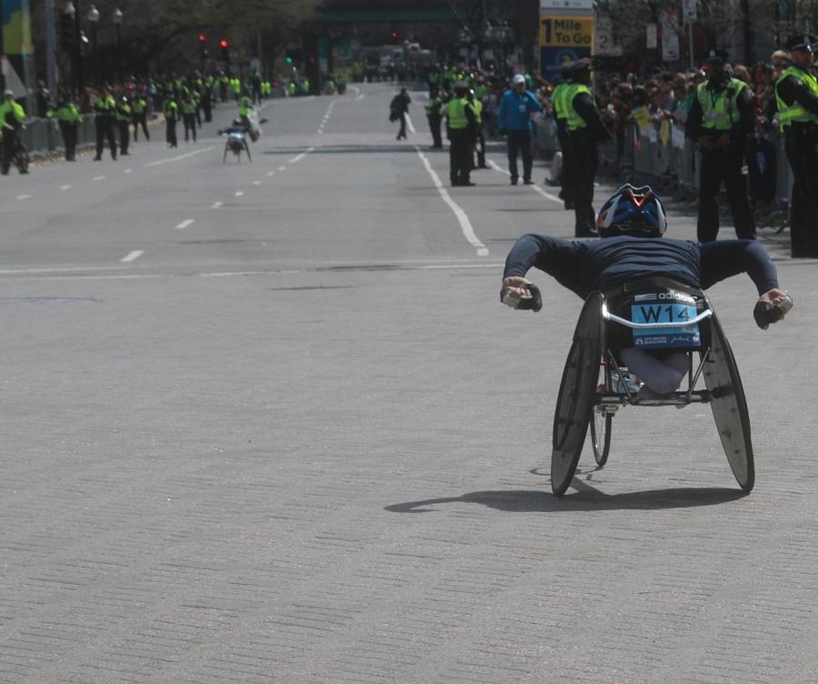 boston marathon april 21 beacon street handicapped racer kenmore square