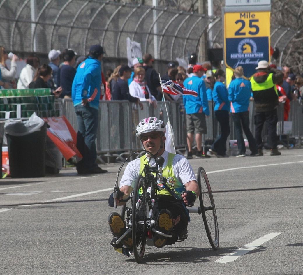 boston marathon april 21 beacon street handicapped racer mile 25