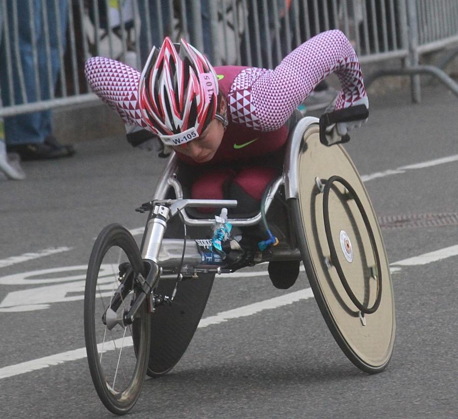 boston marathon april 21 beacon street handicapped racer w 105