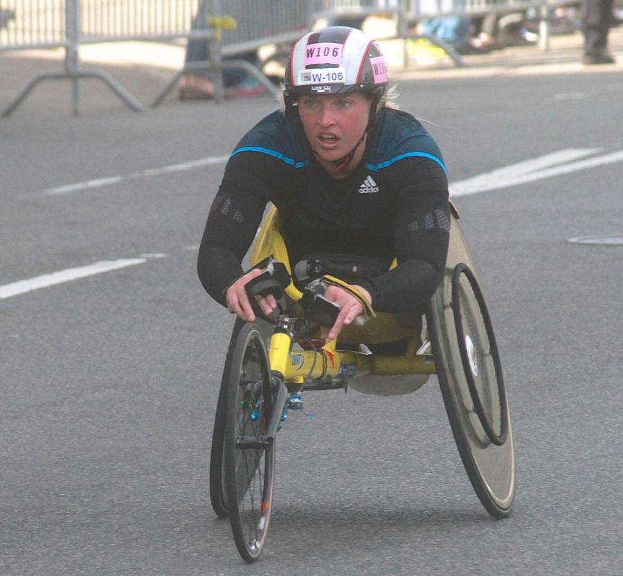 boston marathon april 21 beacon street handicapped racer w 106
