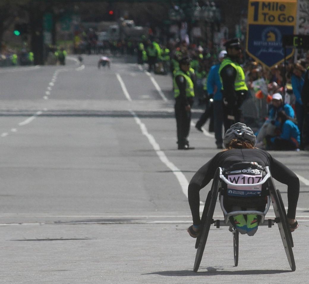 boston marathon april 21 beacon street handicapped racer w 107