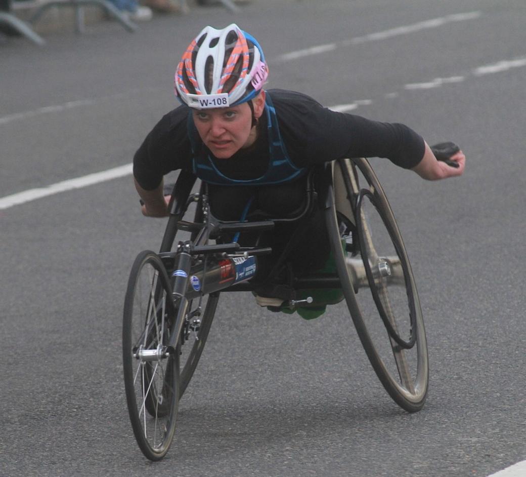 boston marathon april 21 beacon street handicapped racer w 108