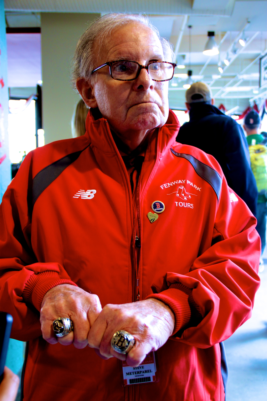 boston red sox fenway park man with world series rings