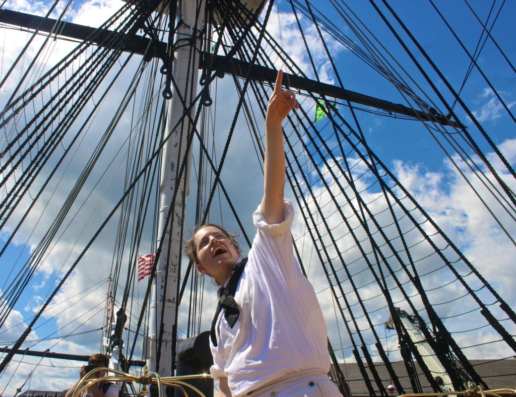 bostou USS constitution tour guide pointing up