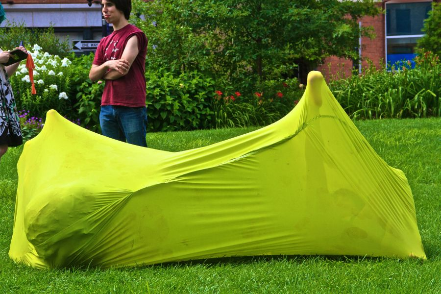 boston greenway person in green stretchy sack 3