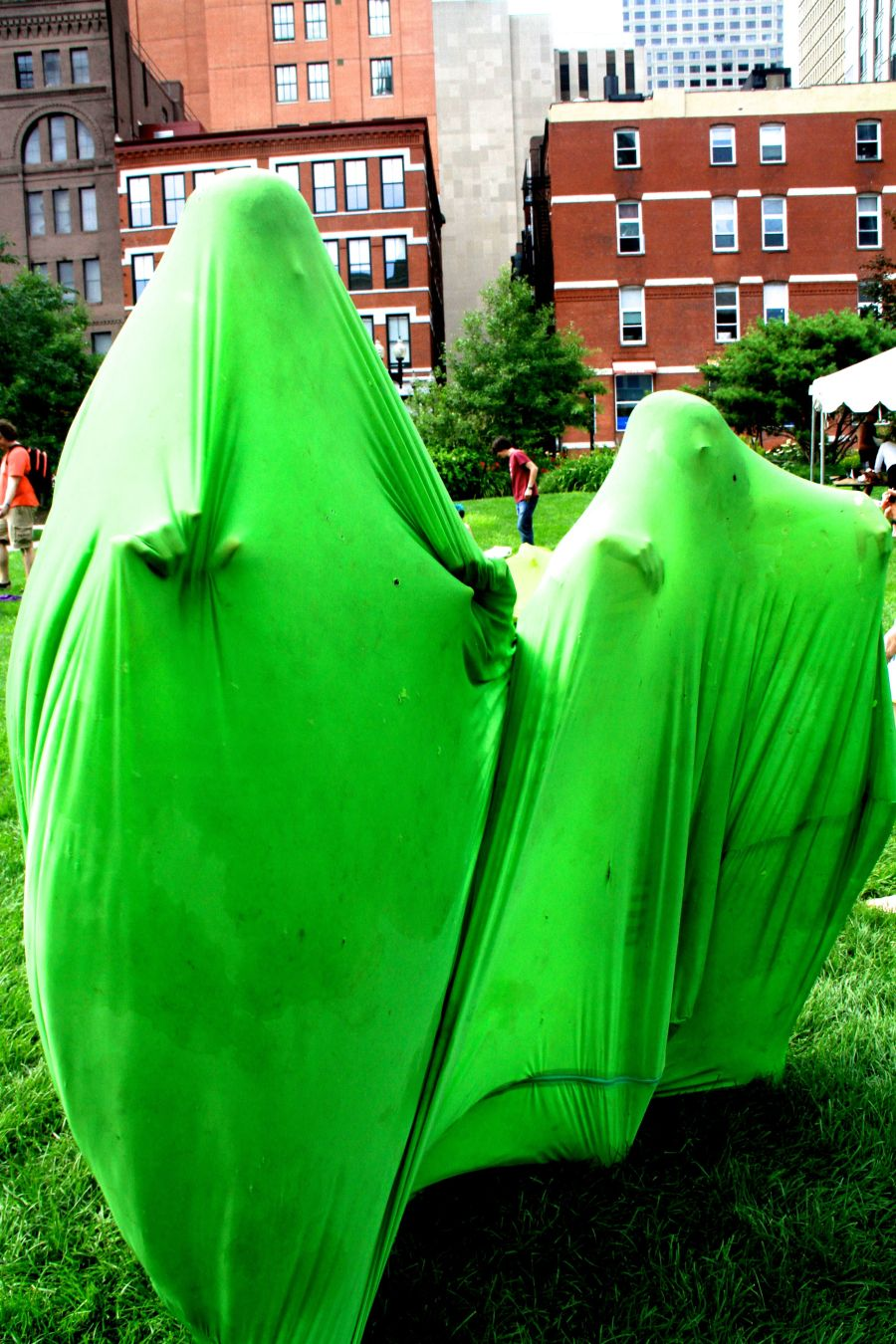 boston greenway person in green stretchy sack 5