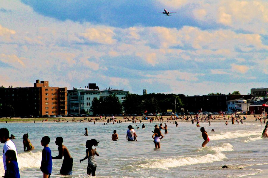 boston revere beach sand sculpting festival july 18 plane overhead