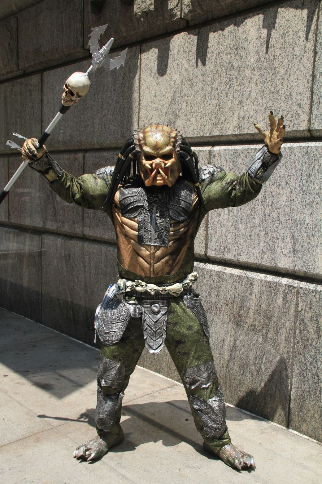 new york city times square man in scary costume