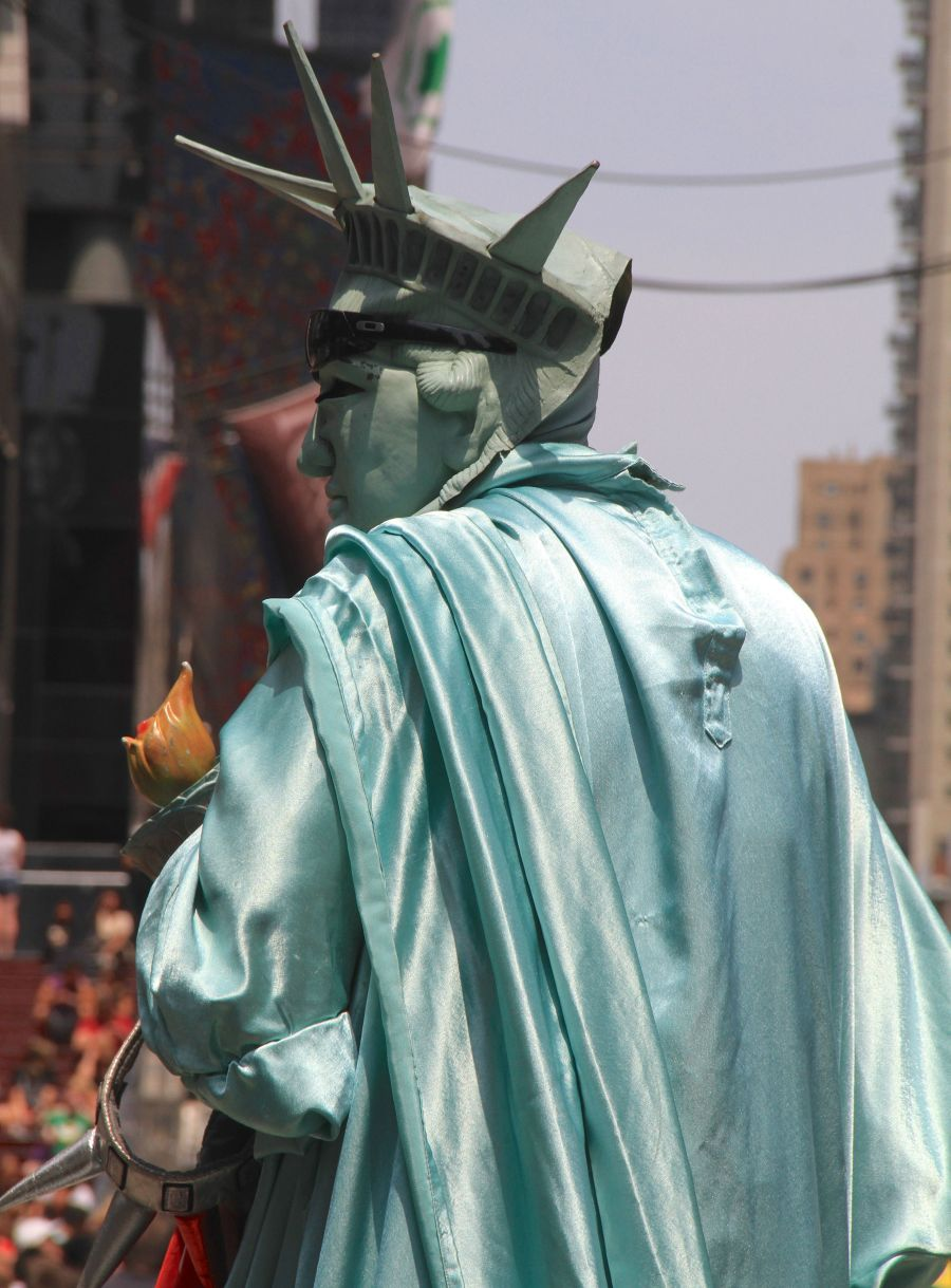 new york city times square statue of liberty man in costume
