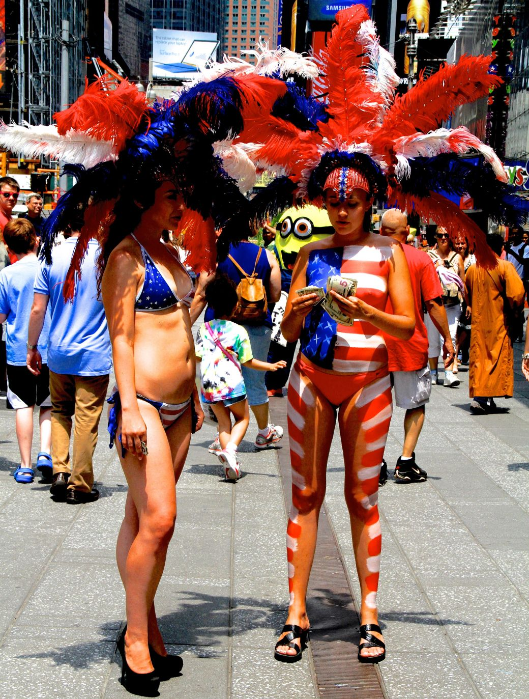 new york city times square woman in bikini naked woman