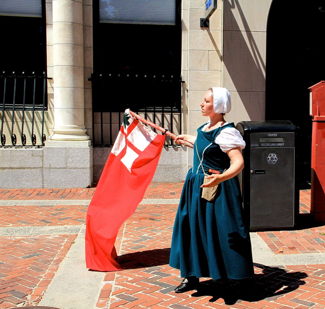 salem witch reenactment flag waver shadow