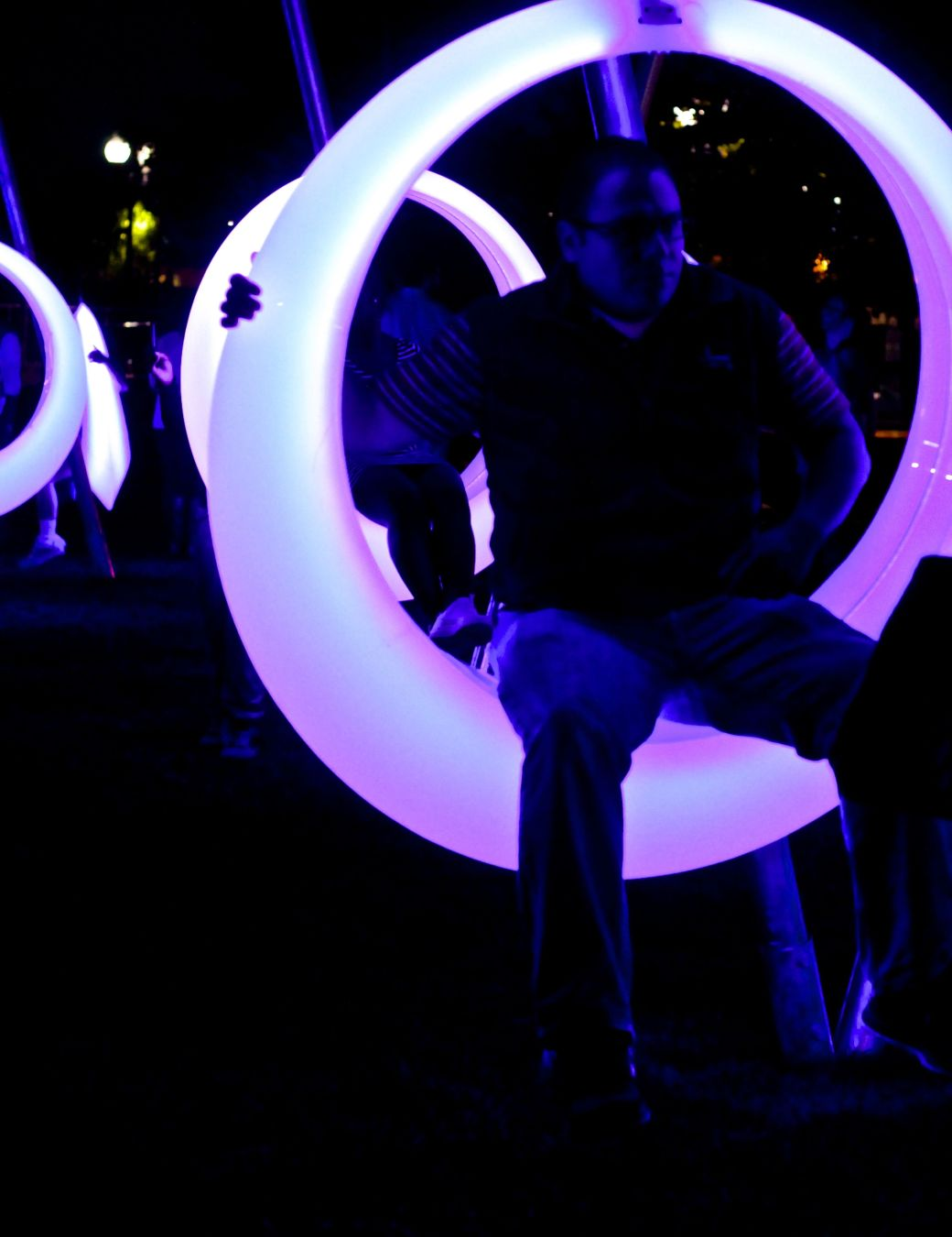 boston seaport district lawn on D swing time lights 8