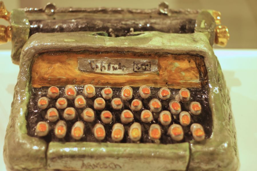 rhode island providence rhode island RISD museum ceramic type writer with fingers