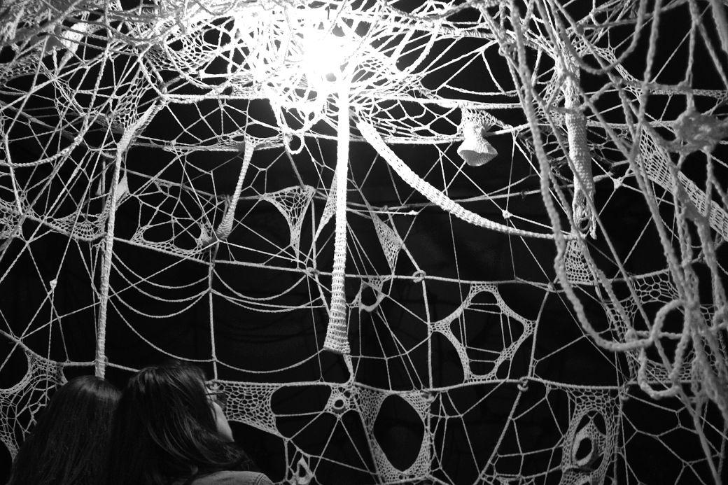boston institute of contemporary art fiber sculpture exhibit knitted spider web