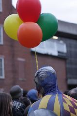 salem halloween october 31 2014 man with the colorful costume and balloons