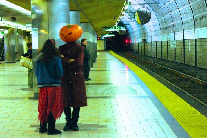 salem halloween october 31 2014 north station pumpkin head