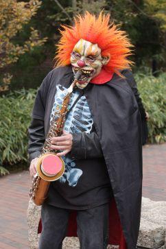 salem halloween october 31 2014 orange masked man playing the sax