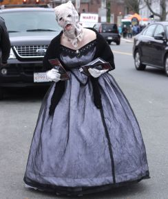 salem halloween october 31 2014 woman in old dress with mask
