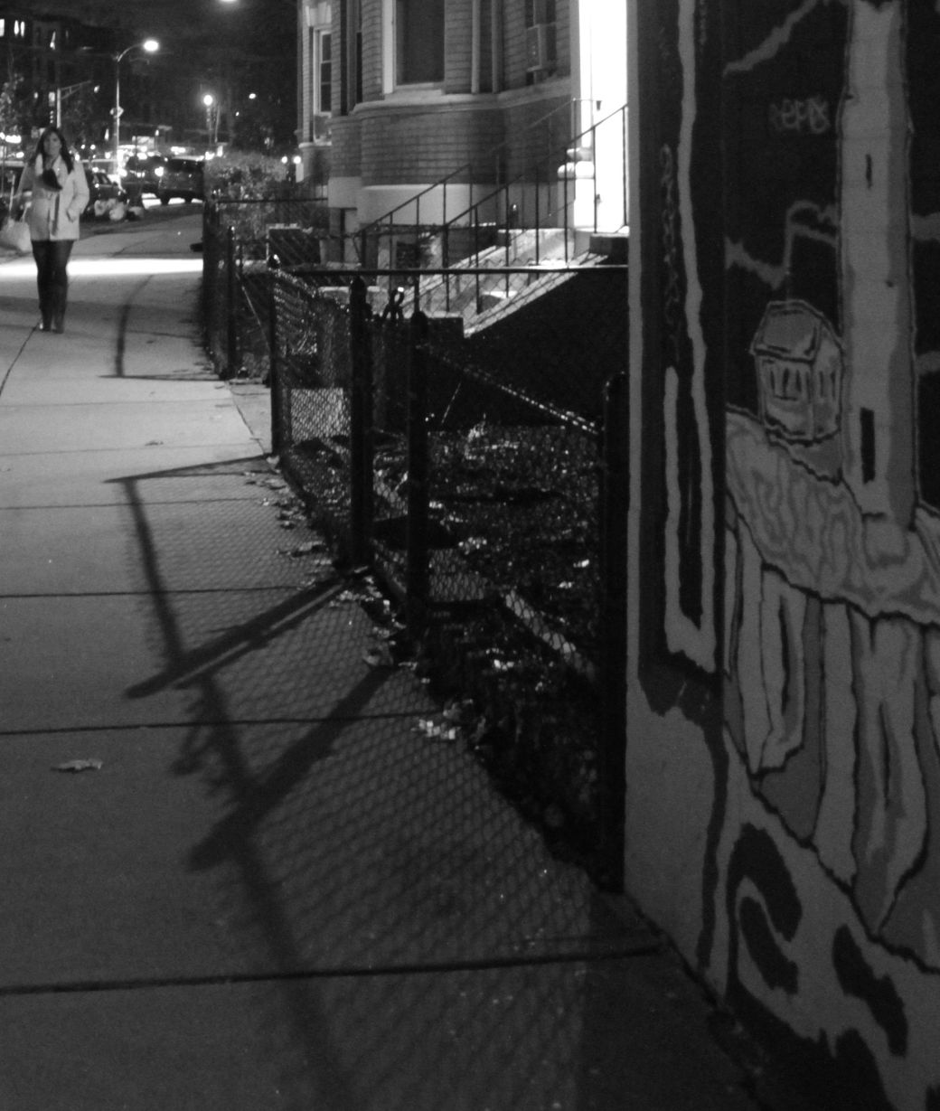 boston allston commonwealth avenue nighttime fence shadows