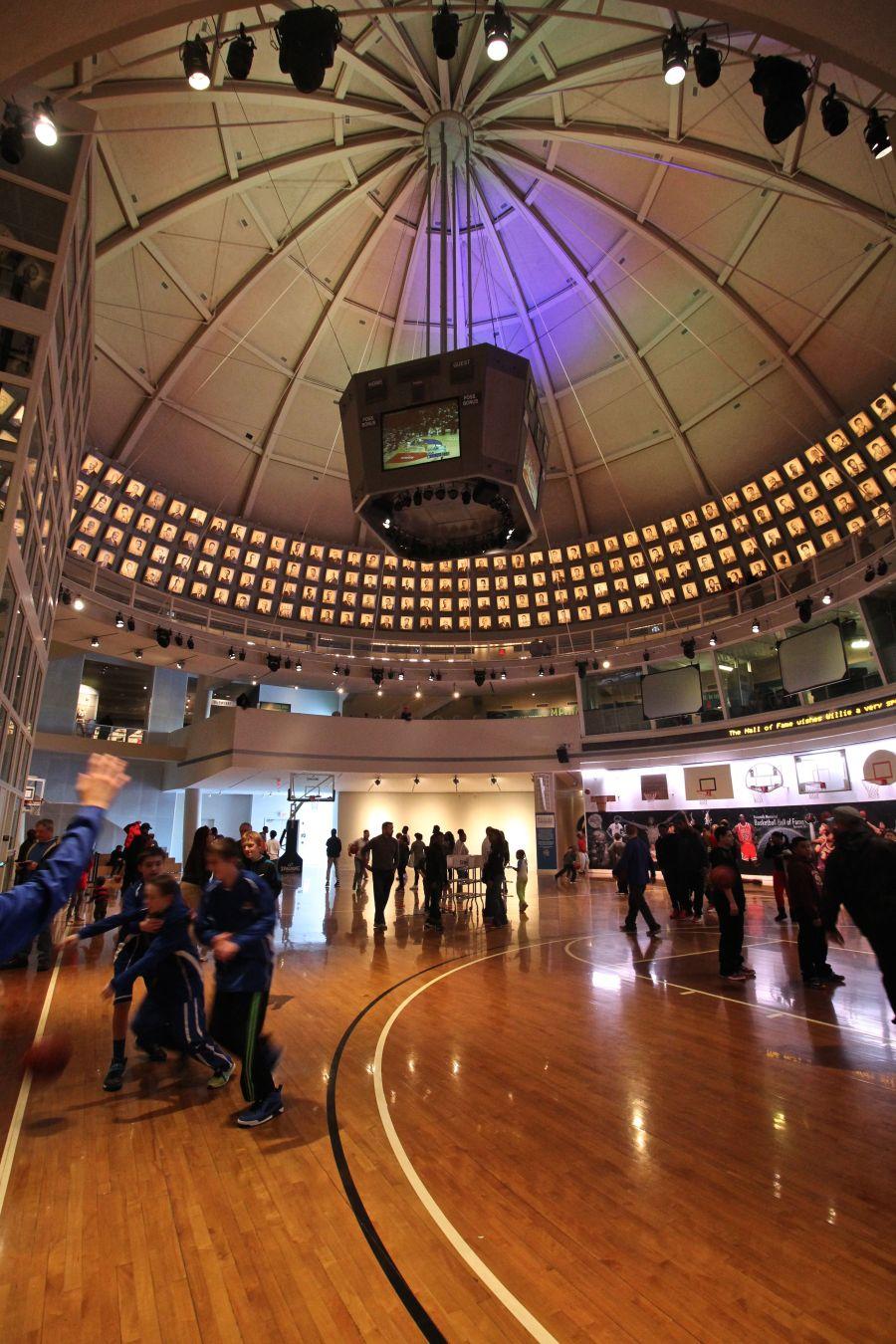 Springfield Naismith Memorial Basketball Hall of Fame basketball court floor