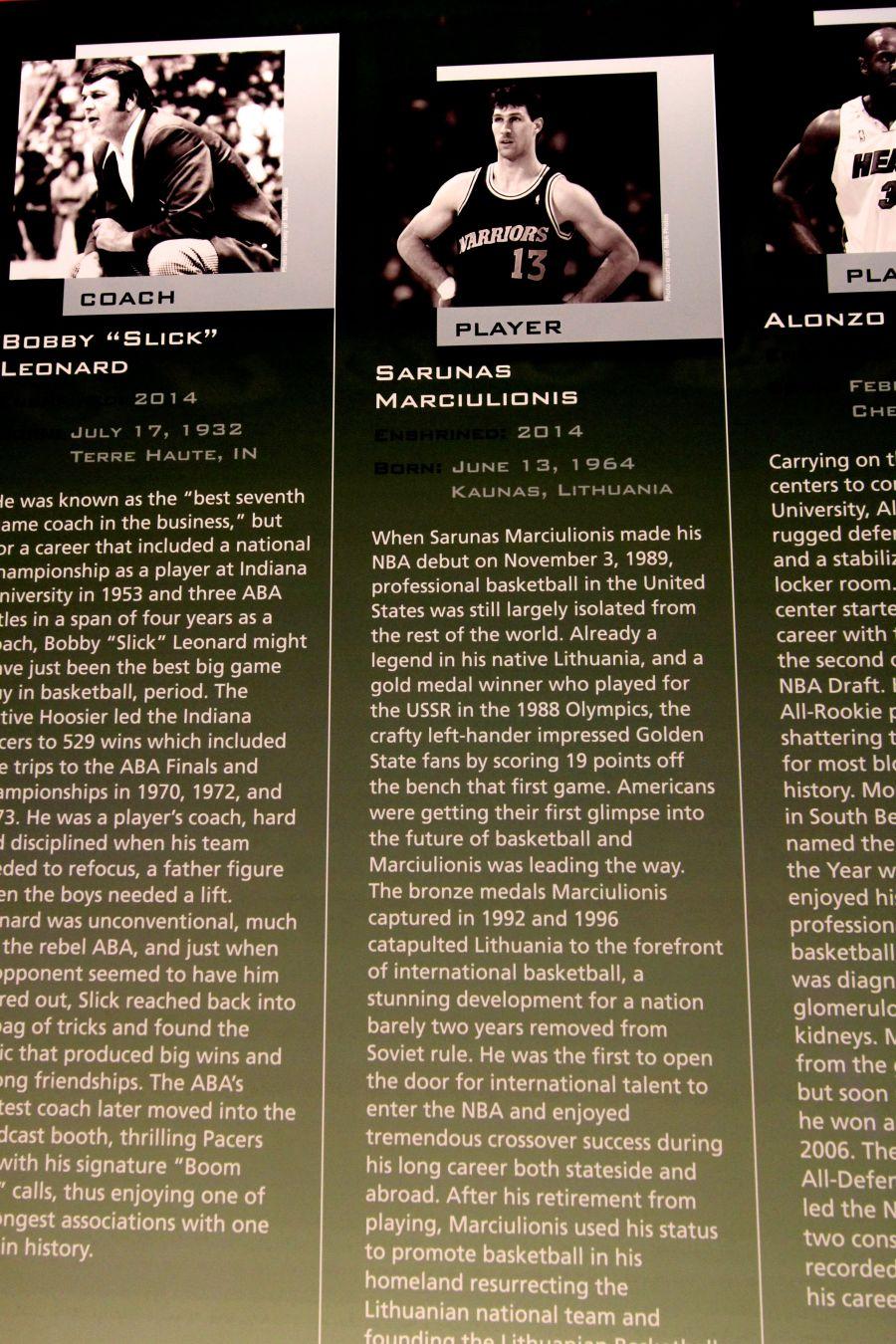 Springfield Naismith Memorial Basketball Hall of Fame sarunas marciulionis biography
