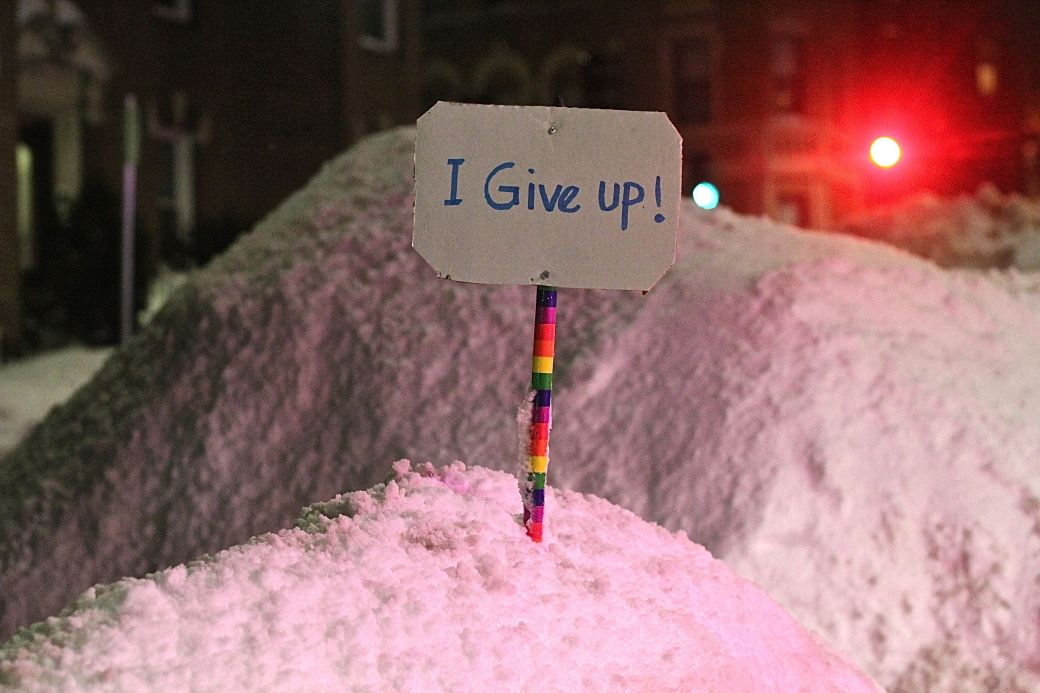 boston allston winter february 17 2015 I give up sign