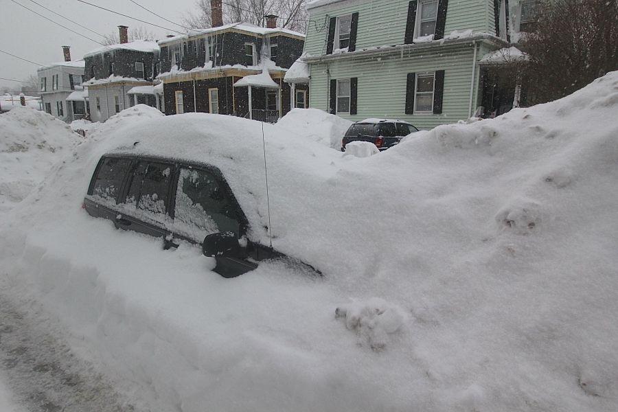 boston jamaica plain winter february 17 2015 car covered in snow