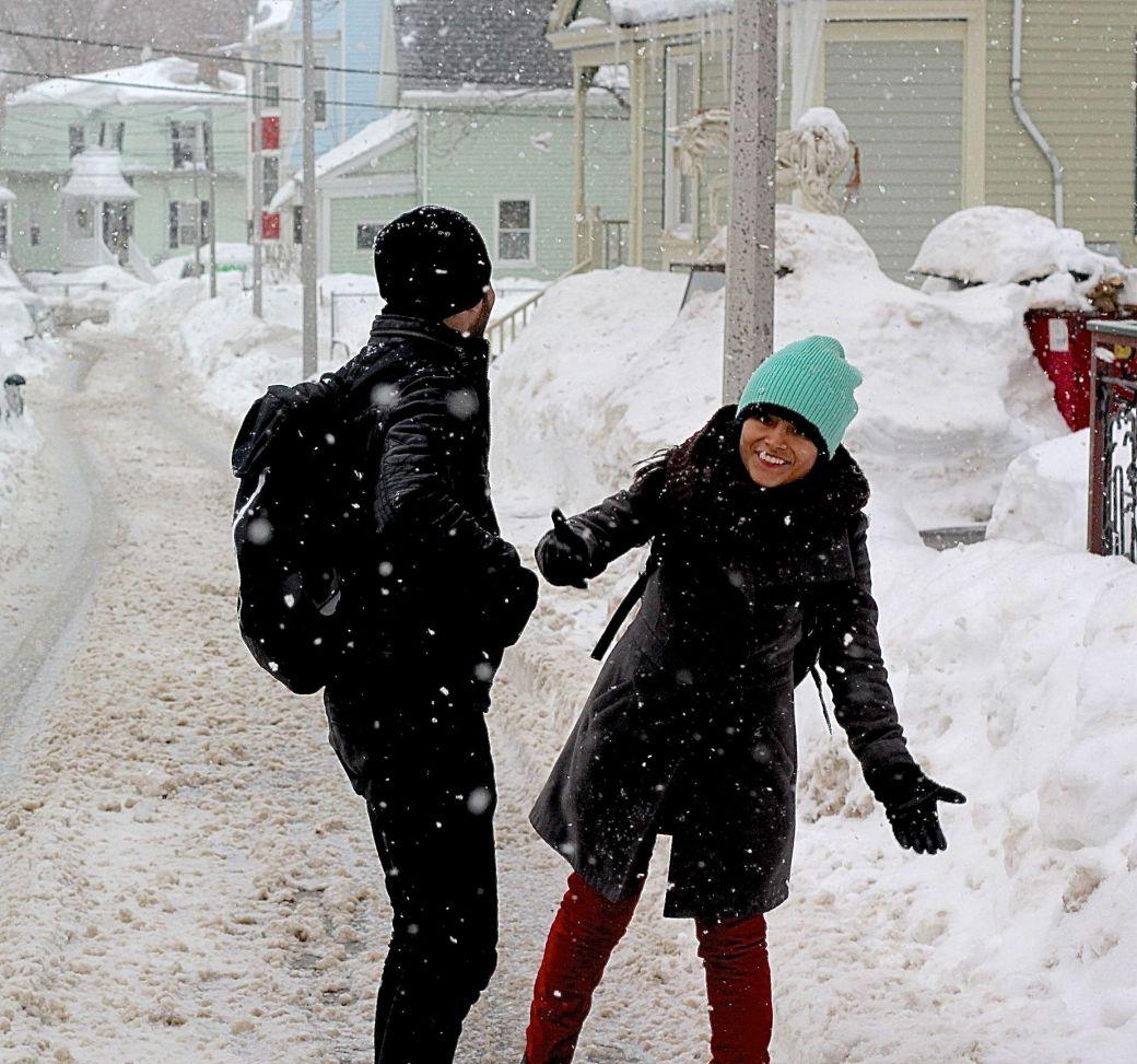boston jamaica plain winter february 17 2015 people
