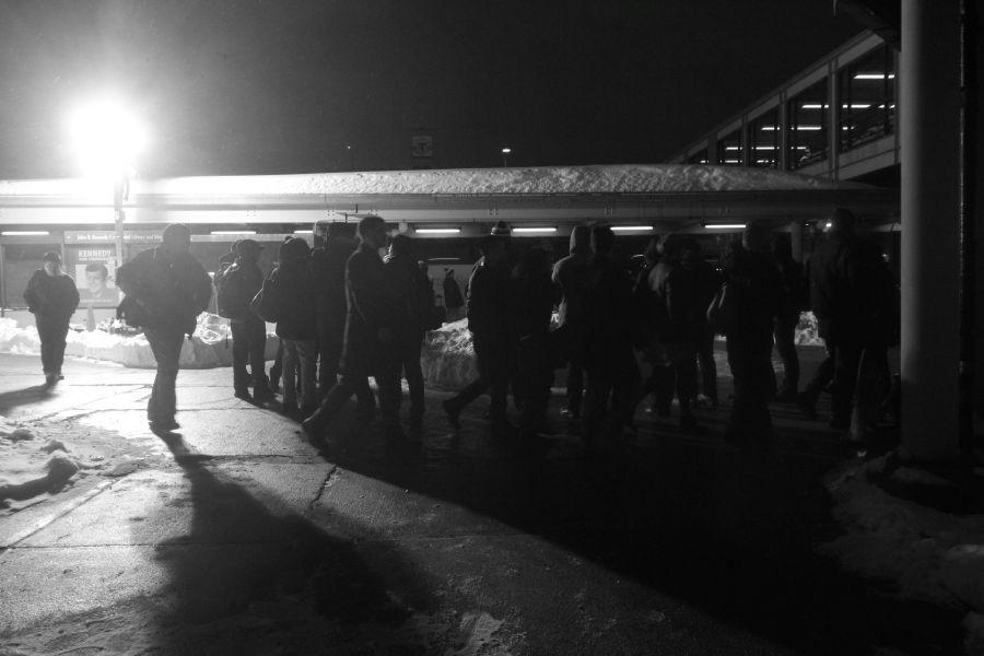 boston JFK UMass station shuttle line night february 19 2
