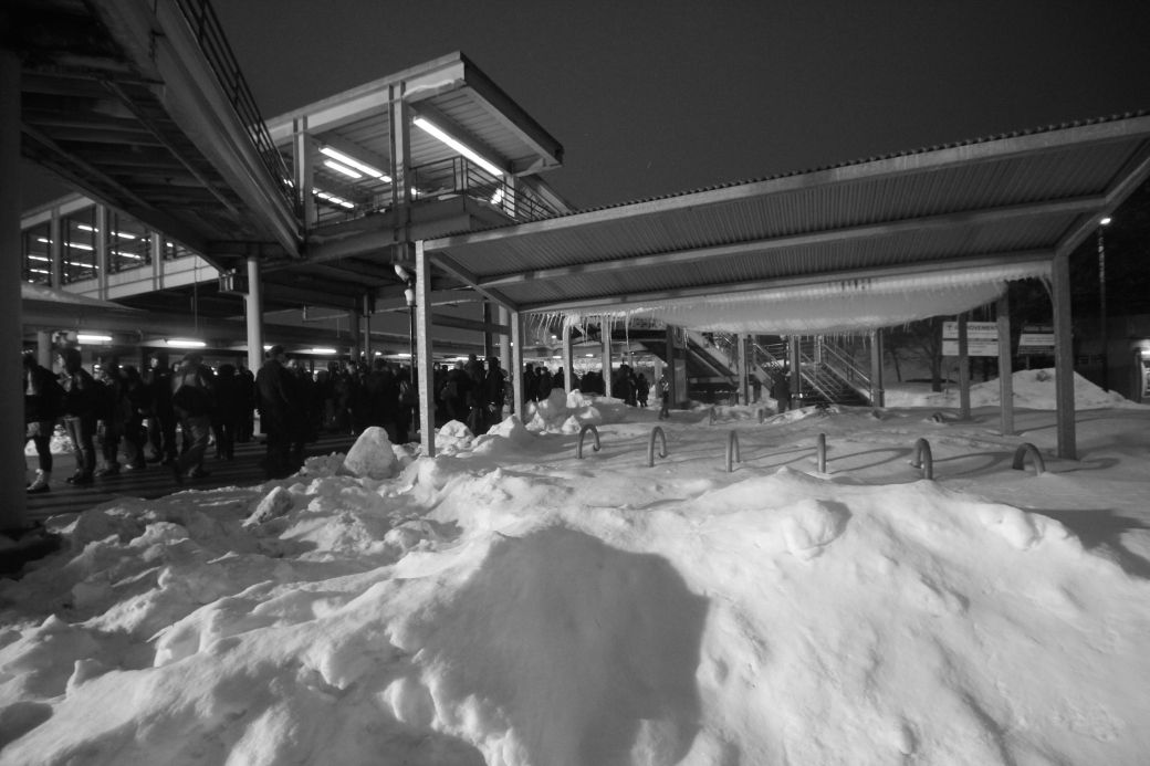 boston JFK UMass station shuttle line night february 19 3