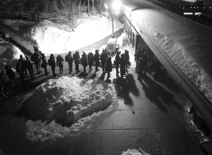 boston JFK UMass station shuttle line night february 19