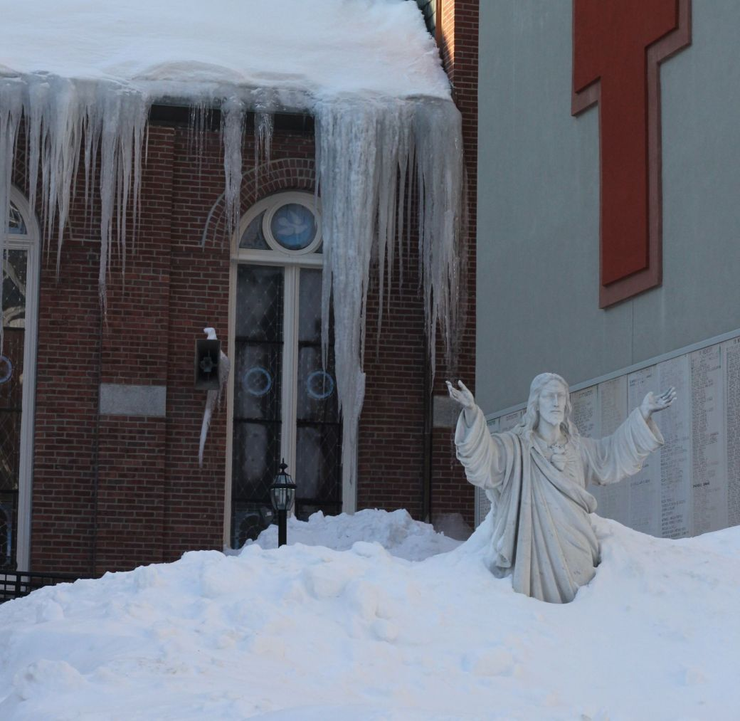 boston north end catholic church statues snow 6