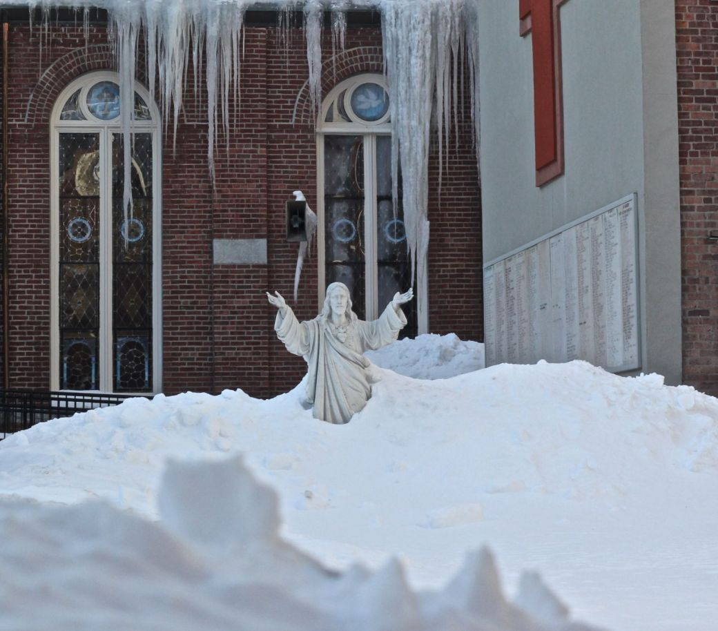 boston north end catholic church statues snow 7