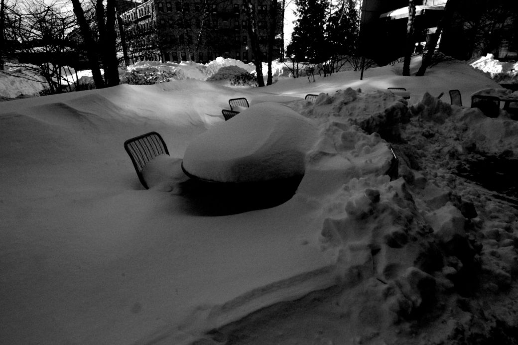 boston northeastern university snow covered tables