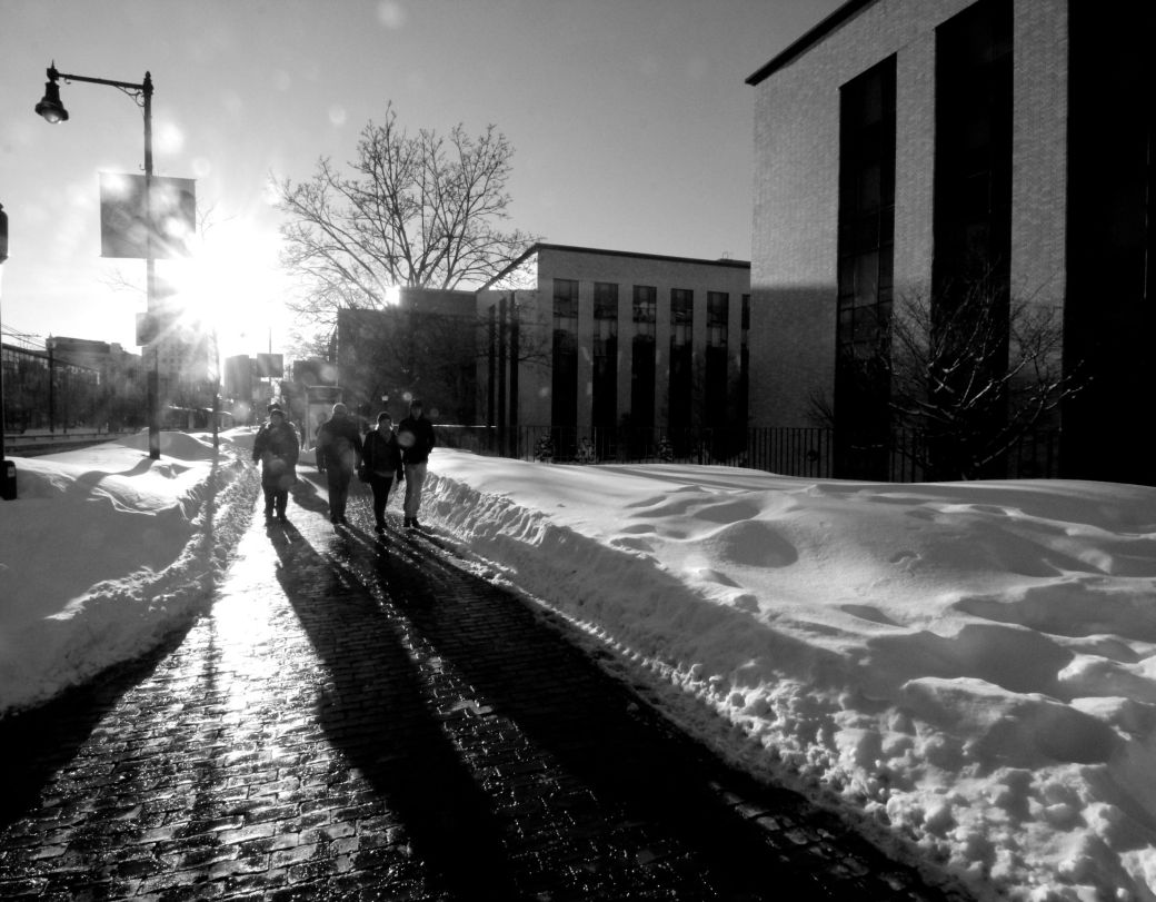 boston northeastern university snow people walking shadows