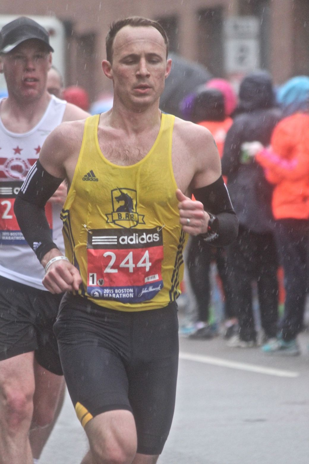 boston marathon april 20 2015 racer number 244 rain