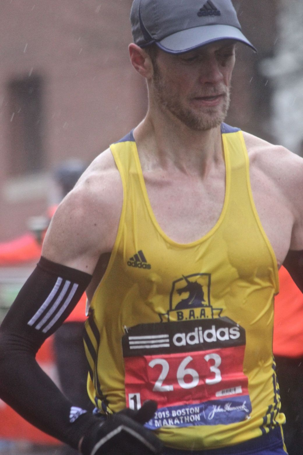 boston marathon april 20 2015 racer number 263 rain