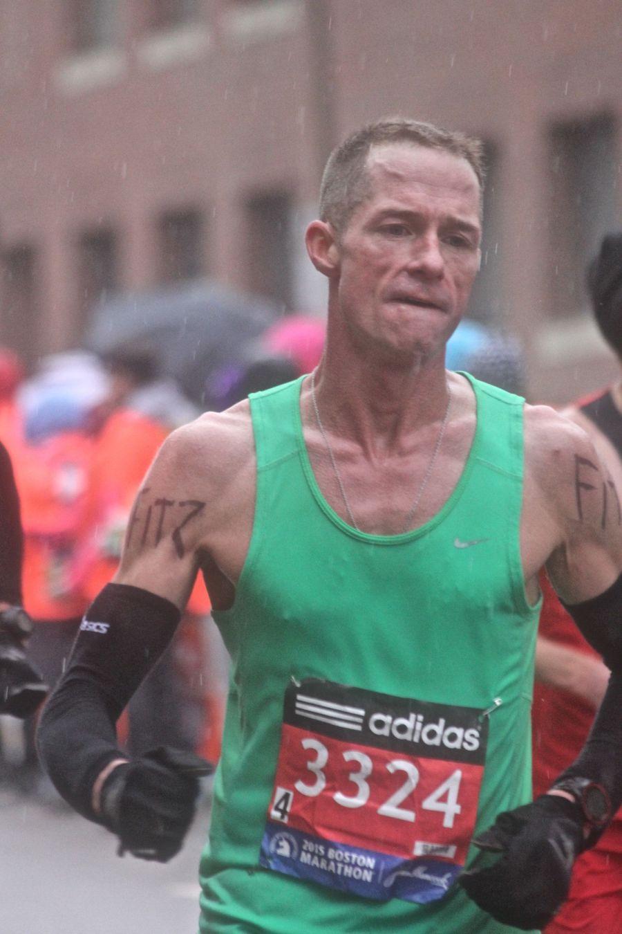 boston marathon april 20 2015 racer number 3324 rain