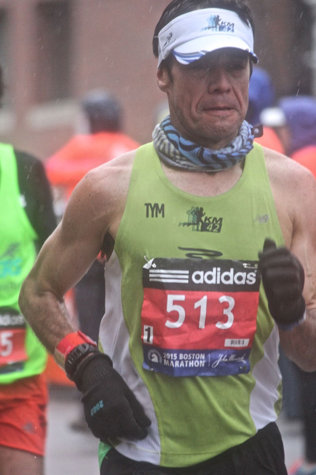 boston marathon april 20 2015 racer number 513 rain