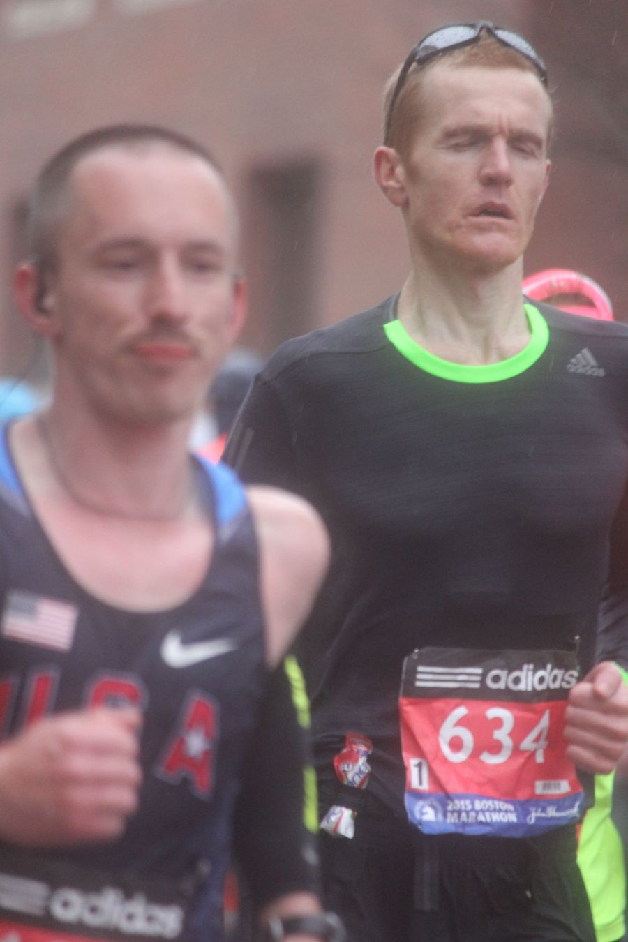 boston marathon april 20 2015 racer number 634 with eyes closed