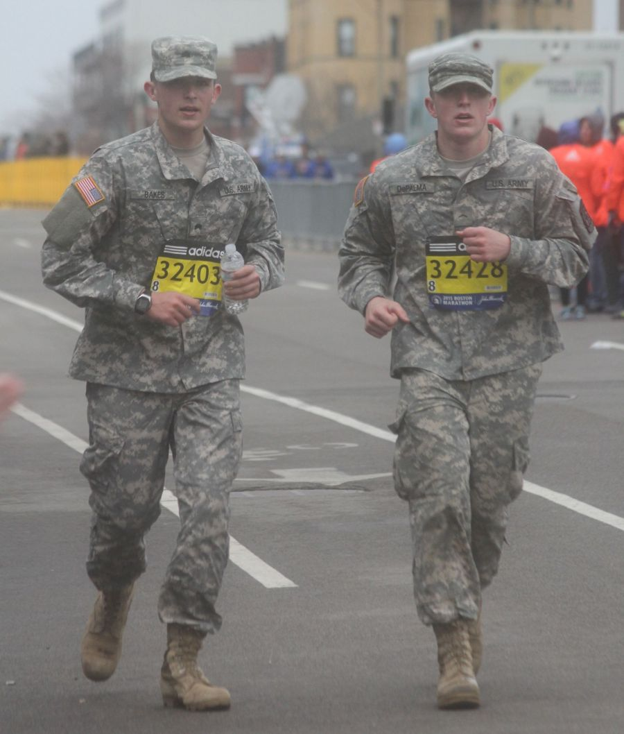 boston marathon april 20 2015 soldiers running numbers 32403 and 32428