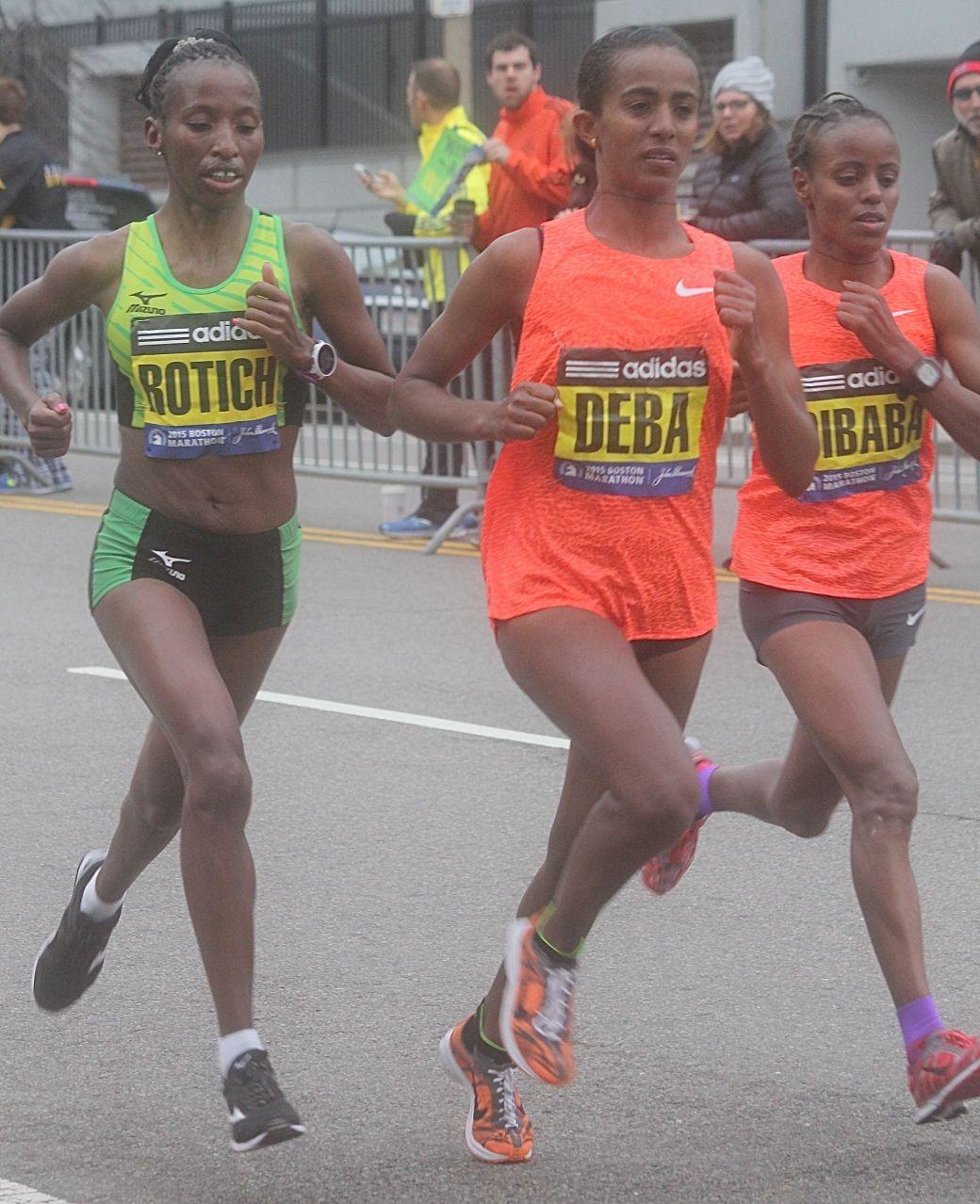 boston marathon april 20 2015 winner caroline rotich other runners mare dibabe buzunesh deba